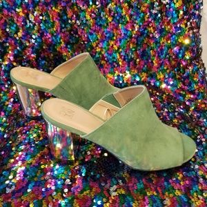 Brand new NY & Co. green suede mules